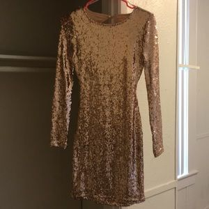 Rose Gold Sequin Body Con Dress
